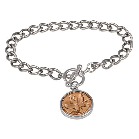 Butterfly Coin Silvertone Toggle Bracelet