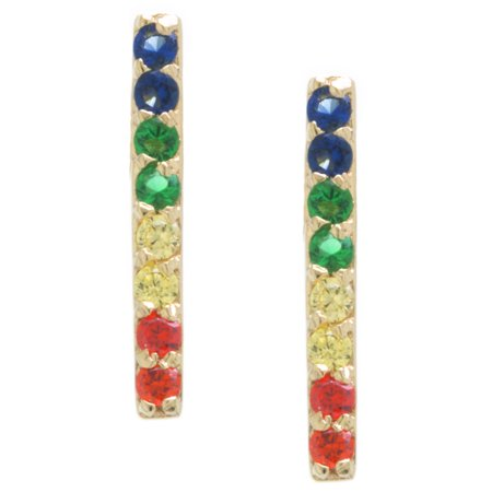 Fine Gold Plate Over Sterling Silver Rainbow CZ Bar Stud Earrings](Rainbow Earrings)