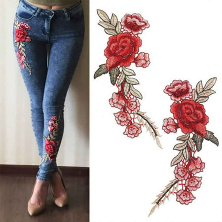 - 1 Pair DIY Rose Flower Embroidered Patches Sew On Patch Applique For Jeans Pants