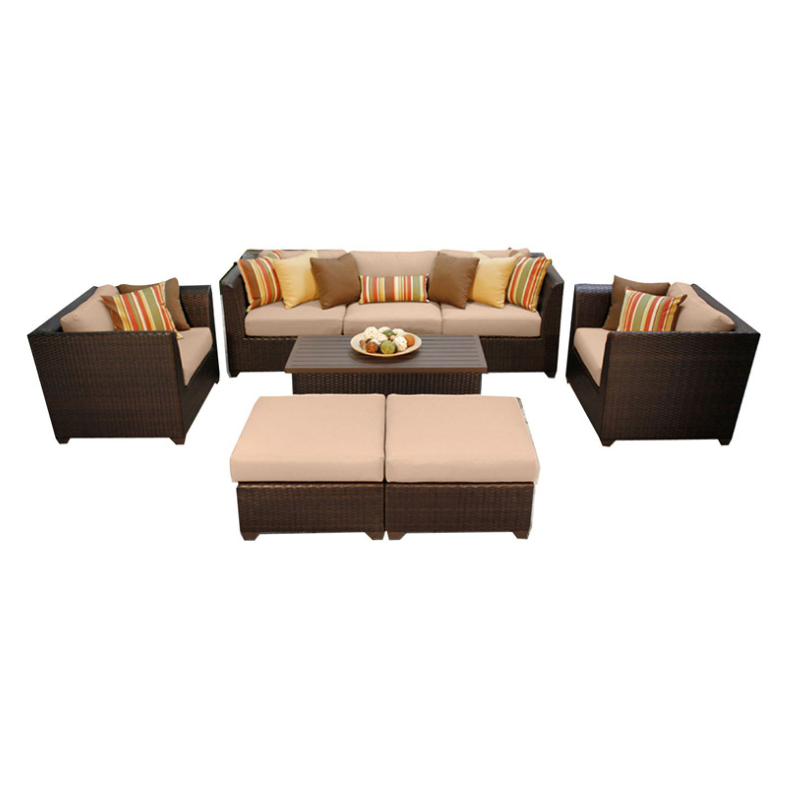 TK Classics Barbados Wicker 8 Piece Patio Conversation Set with Ottoman and 2 Sets of Cushion Covers by Delacora
