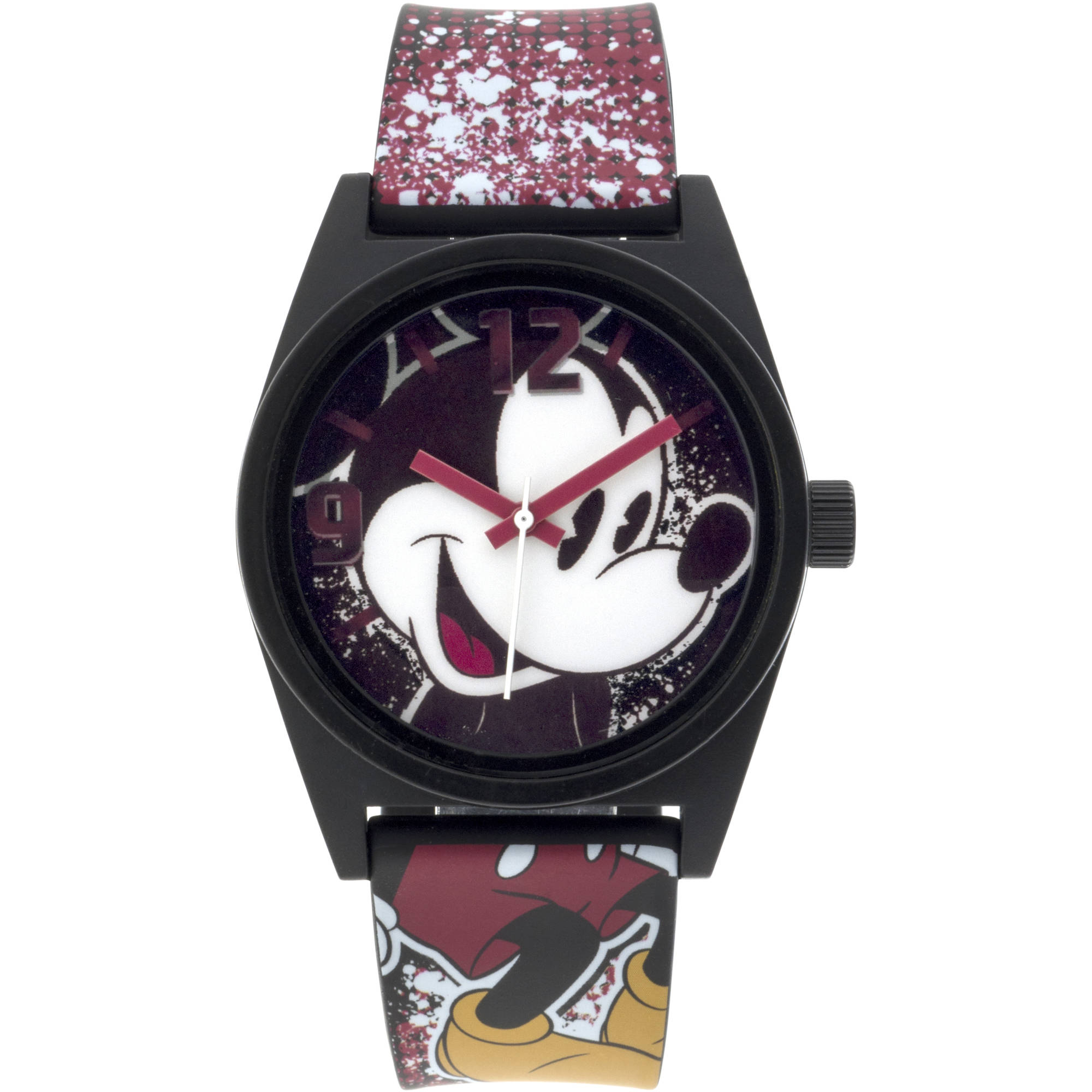 Mickey Mouse Black Case Character-Printed Dial Analog Watch, Printed Art Strap