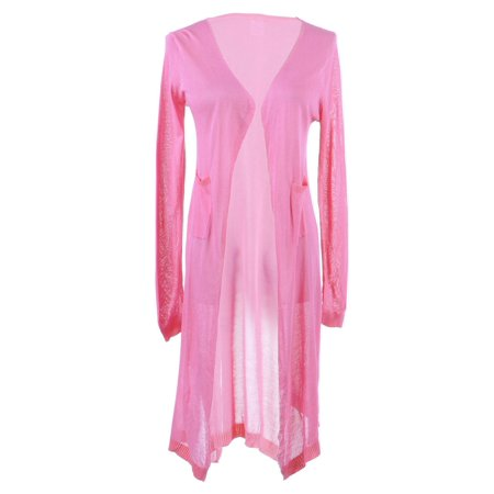 (S/M Fit Pink Semi Sheer Single Hook Closure Patch Pockets Cardigan)