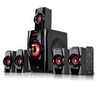 beFree Sound BFS-410 5.1 Channel Surround Sound Bluetooth Speaker System in Red