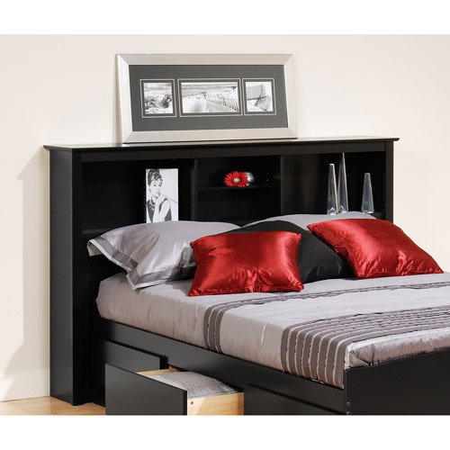 Brisbane Full-Queen Storage Headboard, Black