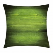 Forest Green Throw Pillow Cushion Cover, Horizontal Wooden Planks Rough Oak Timber Structure Surface Texture Image, Decorative Square Accent Pillow Case, 20 X 20 Inches, Green Black, by Ambesonne