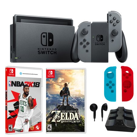 Nintendo Switch in Gray with Legend of Zelda, NBA 2K18 and Accessories Bundle