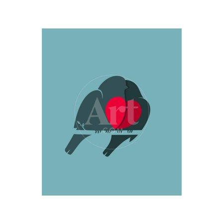 Natural Twig Heart - Bullfinch Birds Heart Love Couple Sitting on Twig. Birds Couple in Love Illustration. Raster Varian Print Wall Art By Popmarleo