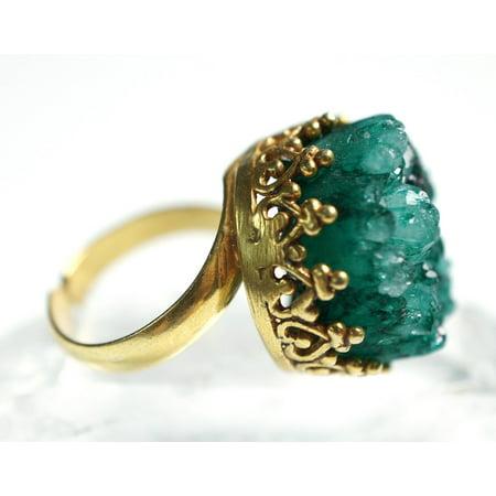 LAMINATED POSTER Green Gold Golden Drusy Druzy Quartz Ring Stone Poster Print 24 x 36