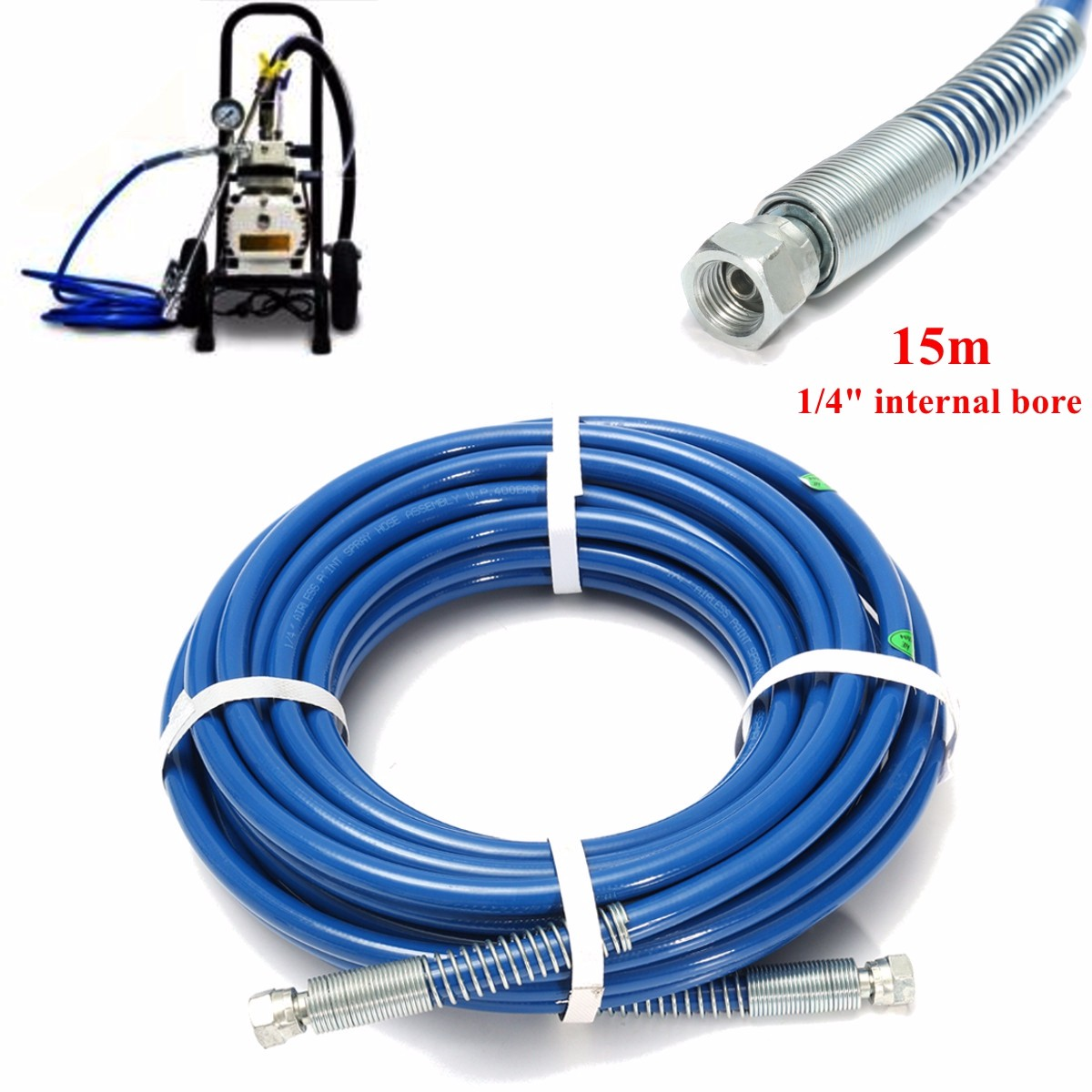 1pcs 15m 1/4'' High Pressure Airless Paint Spray Hose Sprayer Tube 3300PSI Cleaning Painting Max