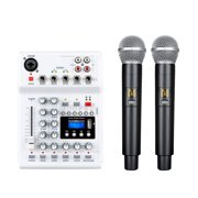 Grofry Console Mixer Integrated Live Sound Audio Soundcard DJ Mixing Console with UHF Wireless Microphone for Karaoke White