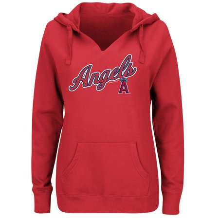 Women's Majestic Red Los Angeles Angels Fresh & Exciting V-Neck Pullover Hoodie (Mlb Angels Sweatshirt)