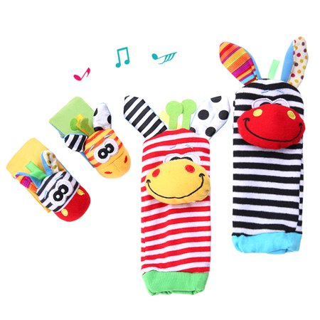 Clearance! Baby Cartoon Animal Pattern Wrist Rattle Educational Toy Wrist Strap with Socks
