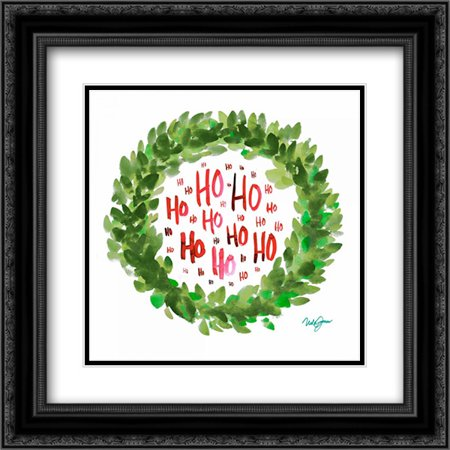 Jolly Wreath 2x Matted 20x20 Black Ornate Framed Art Print by James, - Black Wreath