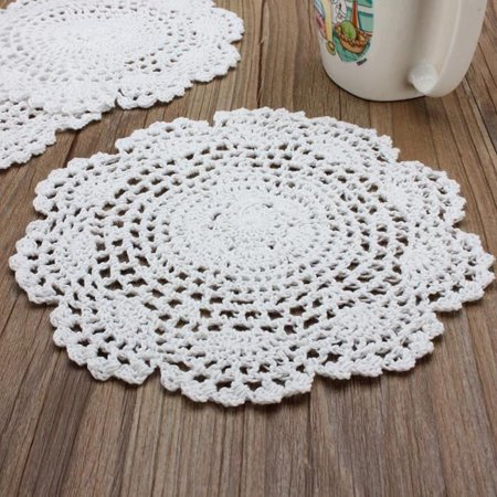 20cm Handmade Crochet Cotton Round Cup Mat Hollow Out Flower Cup Pads Decorations - image 3 of 4