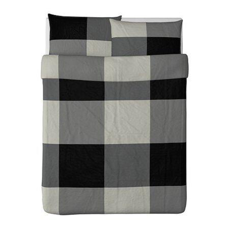 Ikea Brunkrissla Duvet Cover and Pillowcase, Black/Gray, Full/Queen (Double/Queen) ()