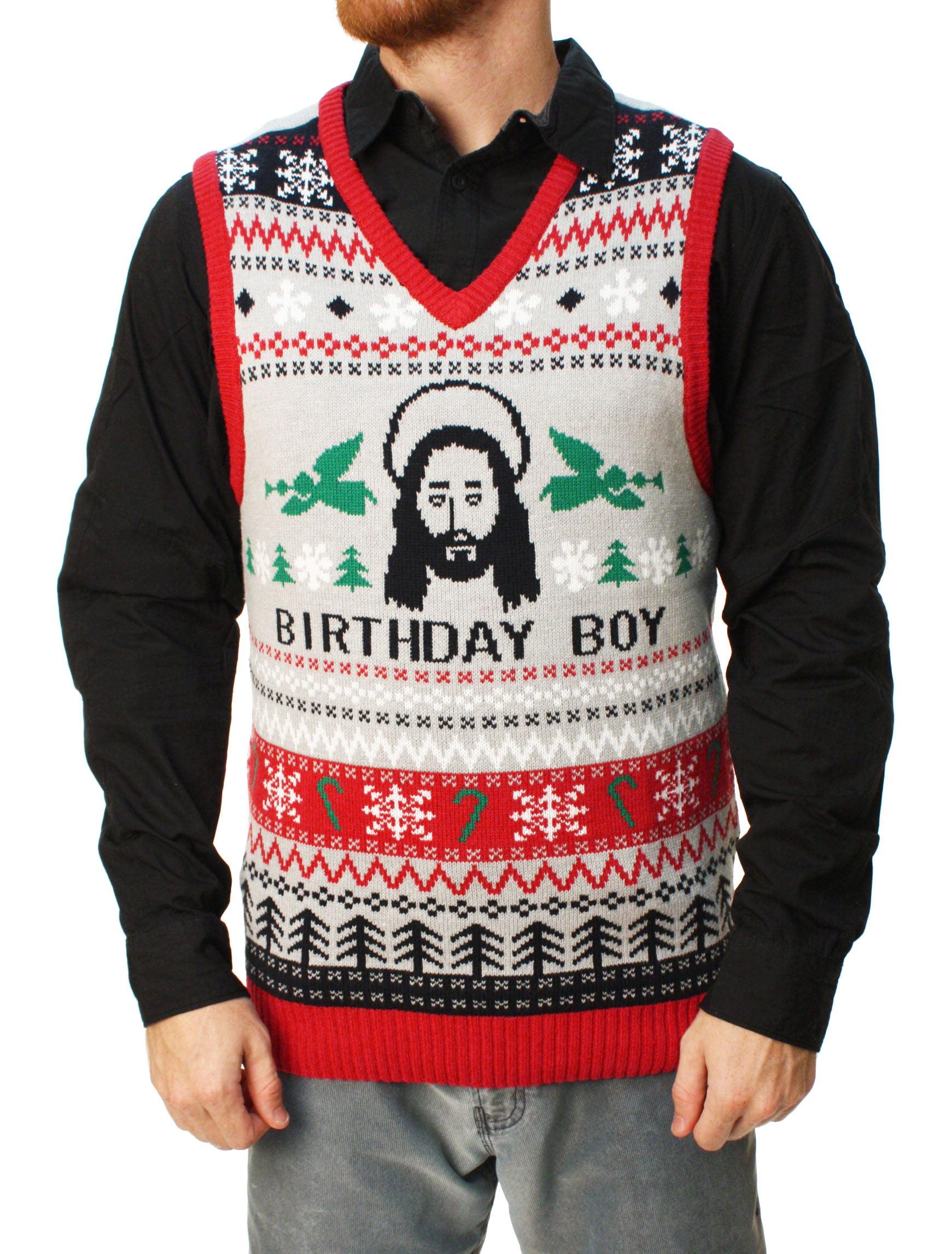 0bf2ec1d8 Ugly Christmas Sweater Men's Jesus Birthday Boy Vest - Walmart.com