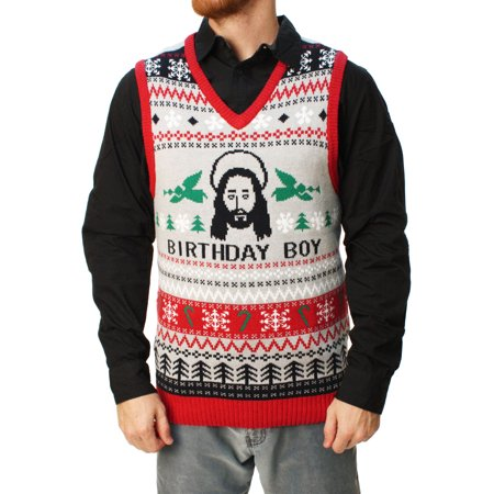 Ugly Christmas Sweater Men's Jesus Birthday Boy Vest