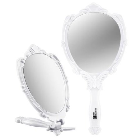 Decorative Handheld Compact Mirror  White   Embossed Butterfly Design  Folding Handle  Lightweight   Portable  180 Degrees Full Folding  Premium Quality  Ideal For Your Makeup Routine  Travel Mirror