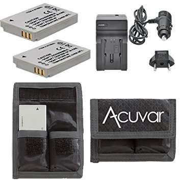 2 NB-5L Rechargeable Batteries + Car / Home Charger + Acuvar Battery Pouch for Canon PowerShot S110, SD700 IS, IS Digital ELPH, SD790IS, SD800 IS Digital ELPH, SD850, SD870, SD880, SD890, SD950, SD970 ()
