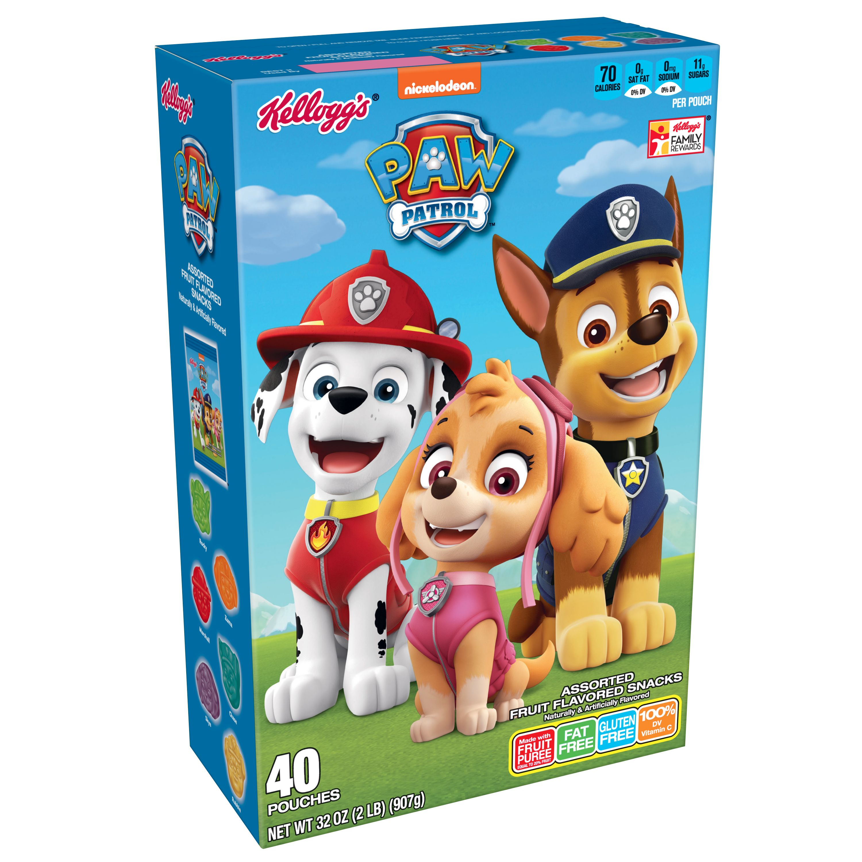 Kellogg's Paw Patrol Assorted Fruit Flavored Snacks Pouches, 32 Oz 40 Ct