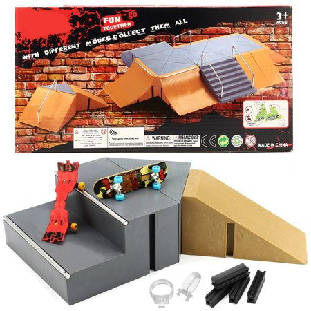 Skate Park Ramp Parts With 2 Deck Fingerboard Finger Board (Ramps And 1 Deck)