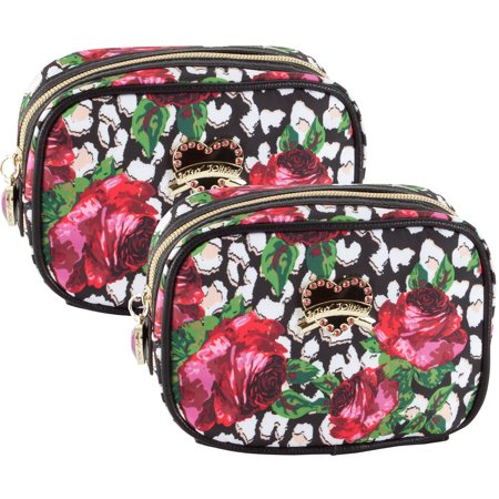 Betsey Johnson Roses Over Cheetah Cub 2 Pack Cosmetic Case Set - Multi](Cheetah Makeup)