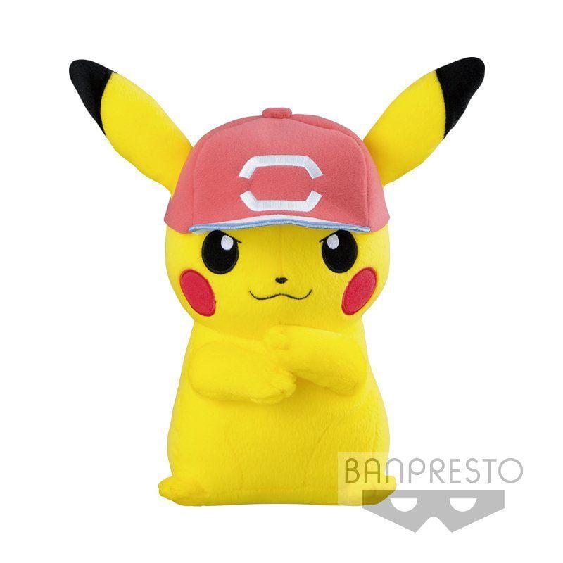 Banpresto Pokemon Sun and Moon Plush Pikachu with Ash's Red Cap