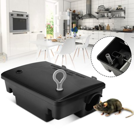 Professional Home Rodent Bait Block Station Box Case Trap With Key For Rat Mouse Little Animals Black