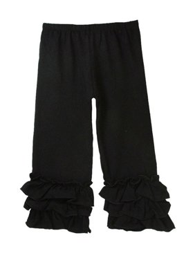 Girls Black Triple Tier Ruffle Cuffed Cotton Spandex Pants 12M-7