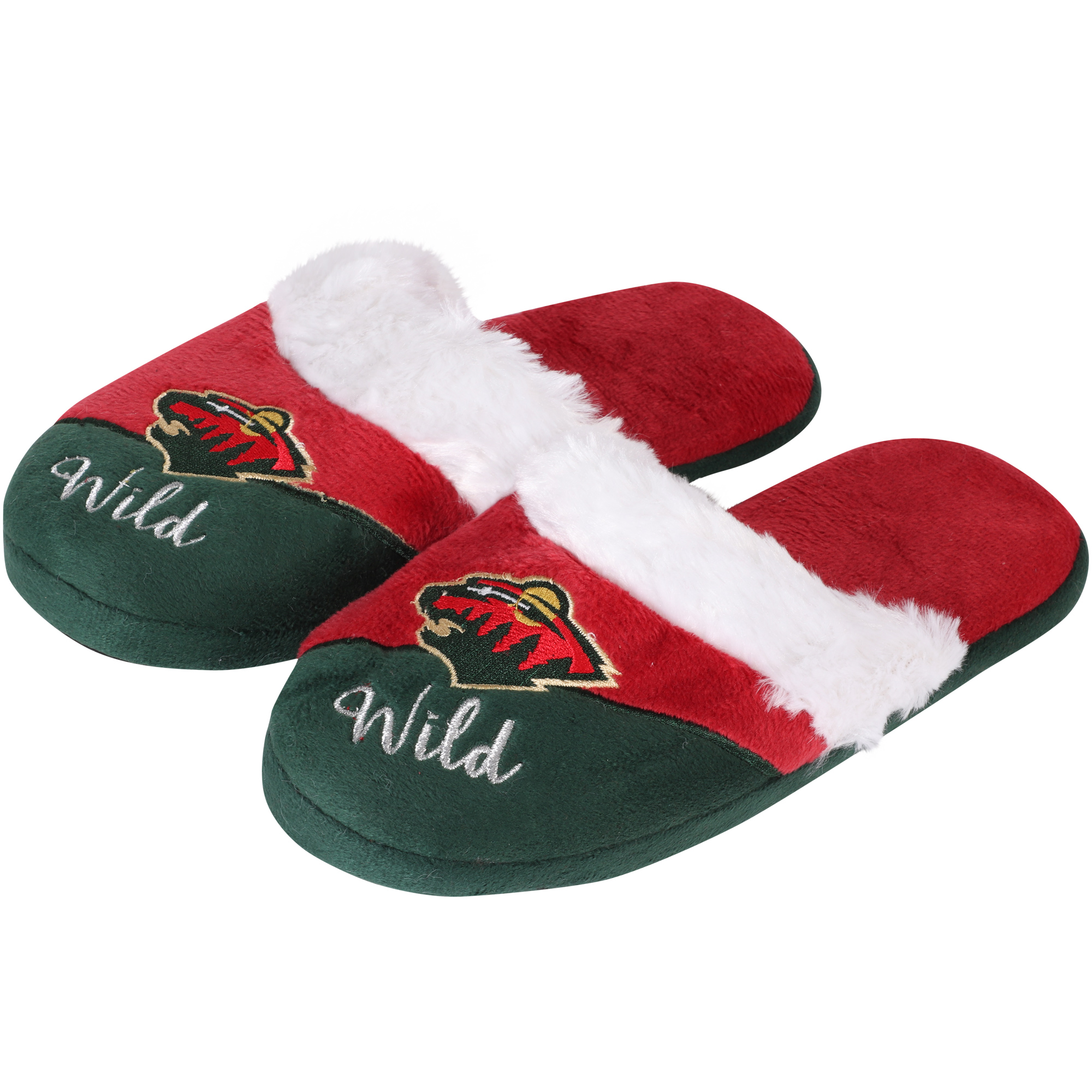 Minnesota Wild Women's Colorblock Script Big Logo Slippers
