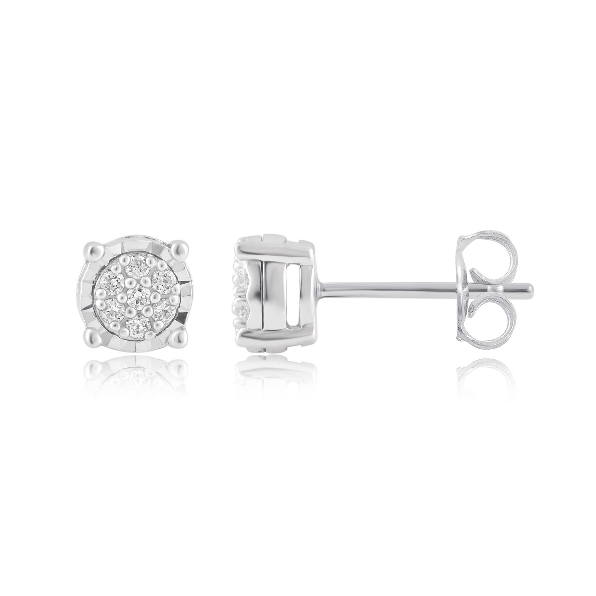 1/10Carat T.W. Diamond Sterling Silver Cluster Stud Earrings.