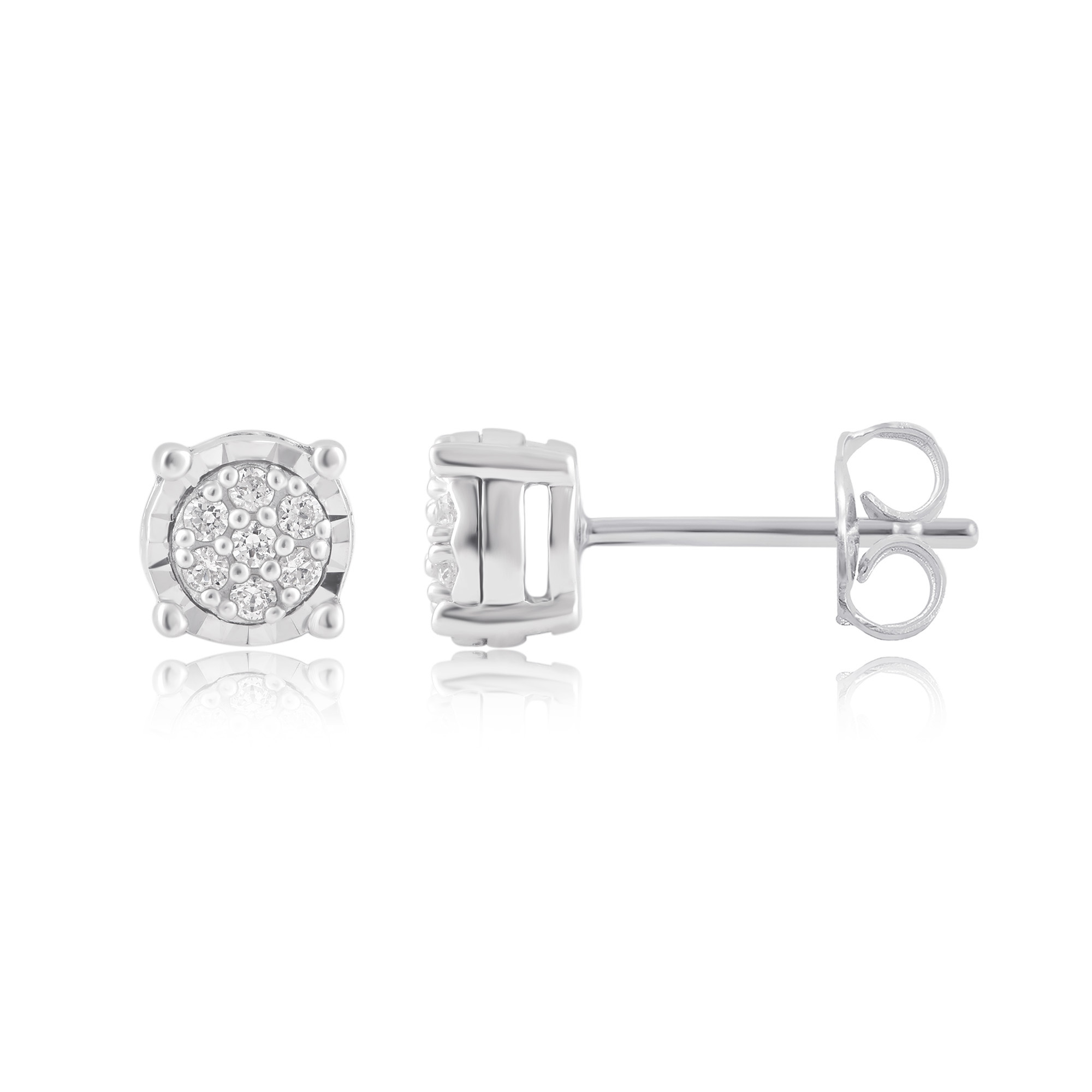 1/10Carat T.W. Diamond Sterling Silver Cluster Stud Earrings.