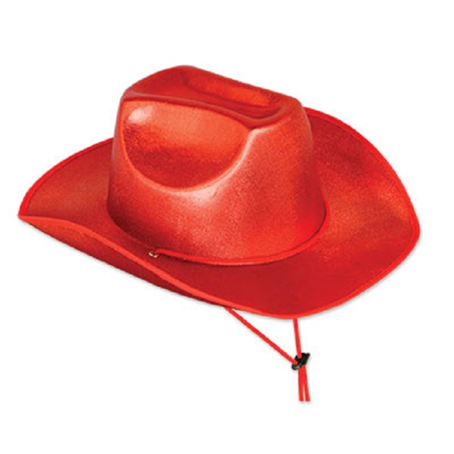 Pack of 6 Scarlet Red Cowboy Hat Western Party Accessories 15""