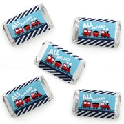 Railroad Party Crossing - Mini Candy Bar Wrapper Stickers - Steam Train Birthday Party or Baby Shower Small Favors - 40