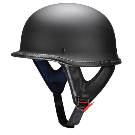 Yescom DOT German Style Motorcycle Half Helmet Open Face Cruiser Chopper Biker Skull Cap Helmet Black M