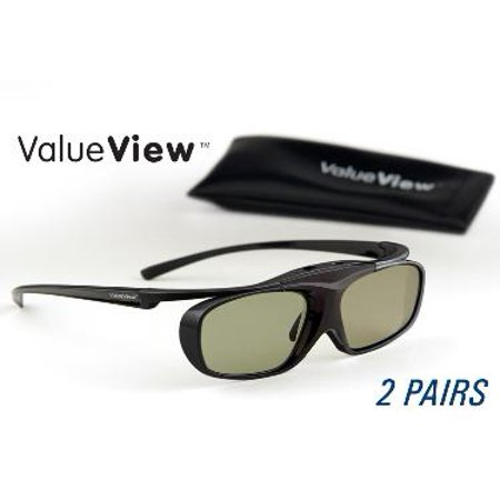 Epson-Compatible ValueView  3D Glasses. Rechargeable. TWIN-PACK