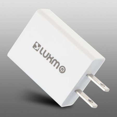 Insten Luxmo Ultra Slim Full 2.1A Smart Dual USB Ports Travel AC Wall Charger Adapter - White - image 1 de 3