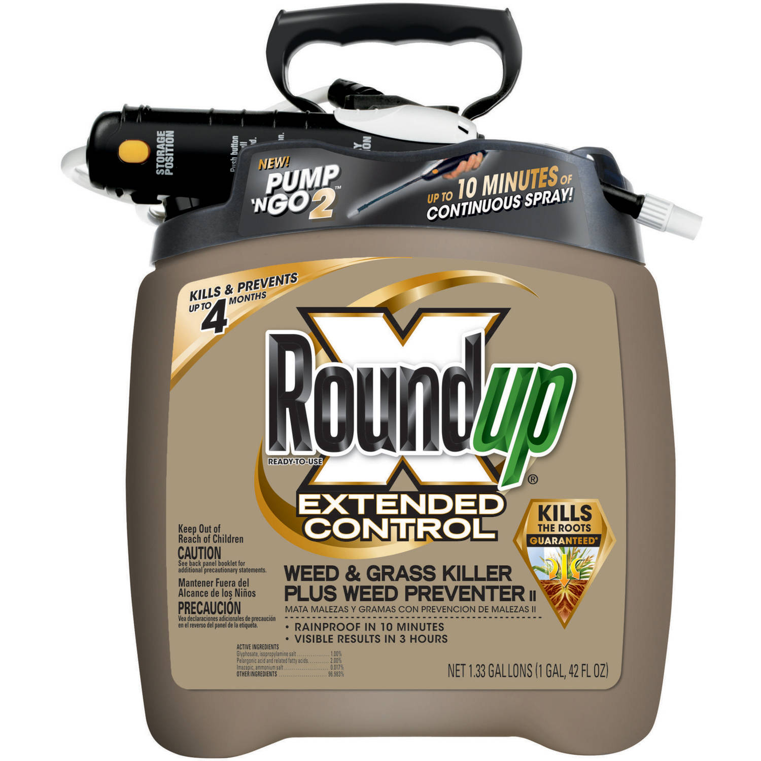 Roundup Extended Ready-To-Use Control Weed & Grass Killer Plus Weed Preventer II Pump 'N Go Sprayer, 1.33 gal