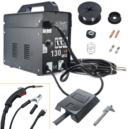 MIG 130 Welder Gas-less Flux Core Wire Automatic Feed Welding Machine 110  Volts DIY Unit with Mask Cooling Fan Black