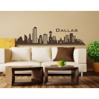 Dallas City Skyline Wall Decal - cityscape wall decal, sticker, mural vinyl art home decor - 4198 - White, 31in x 8in