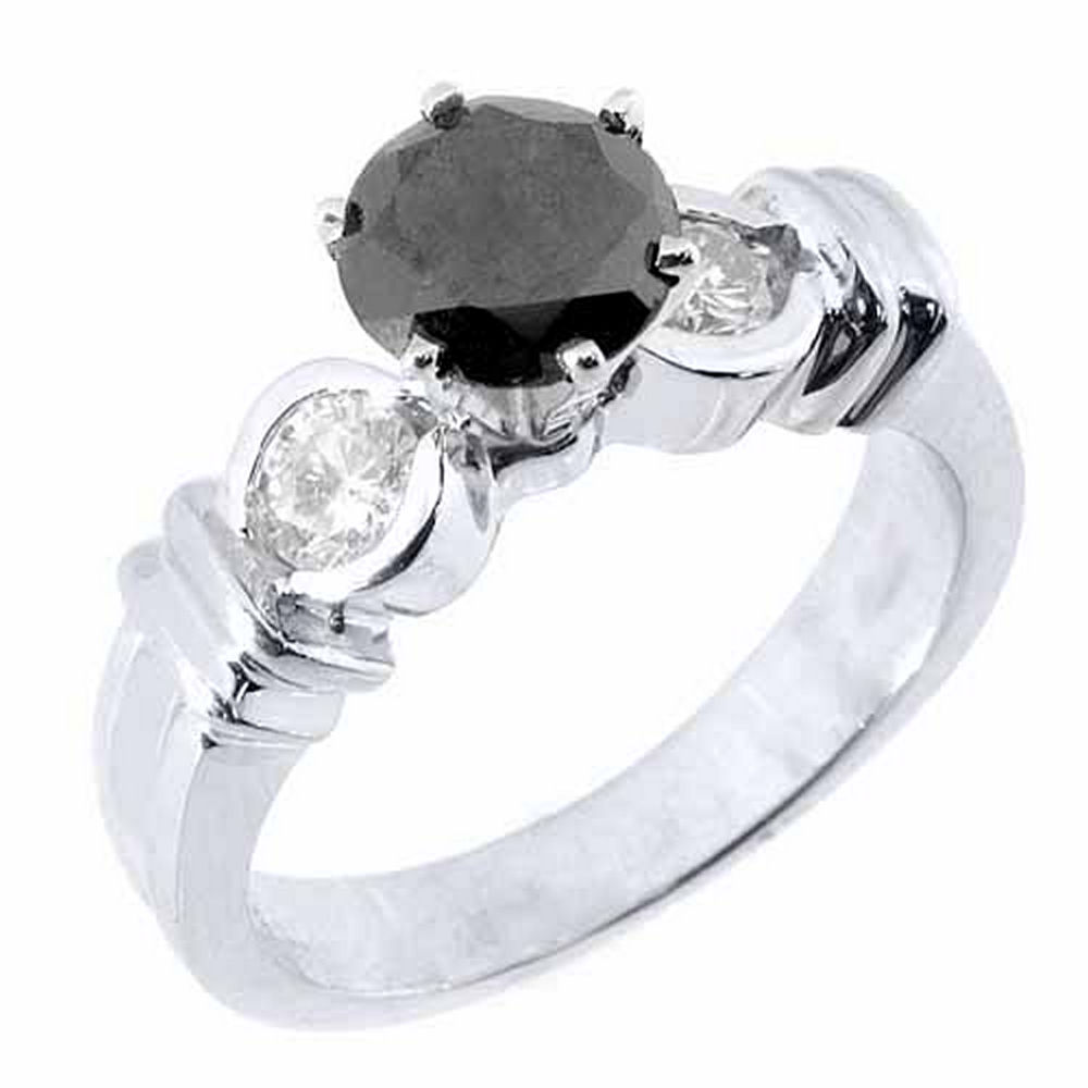 14k White Gold 1.50 Carats Solitaire Round Black Diamond Engagement Ring