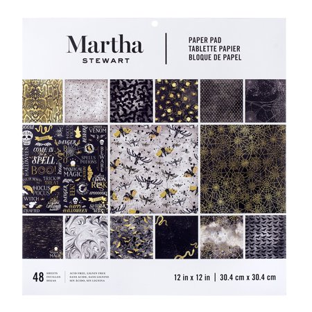 Darice Martha Stewart Crafts Halloween Paper Pad Black and Gold Prints 12 X 12 - Martha Stewart Halloween