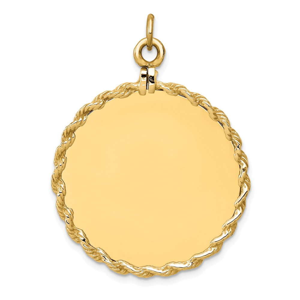 14k Yellow Gold Plain 0.013 Gauge Circular Engravable Disc with Rope Charm (1.5in long x 1.1in wide)
