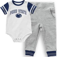 Penn State Nittany Lions Colosseum Infant Flavio Bodysuit and Pants Set - White/Heathered Gray