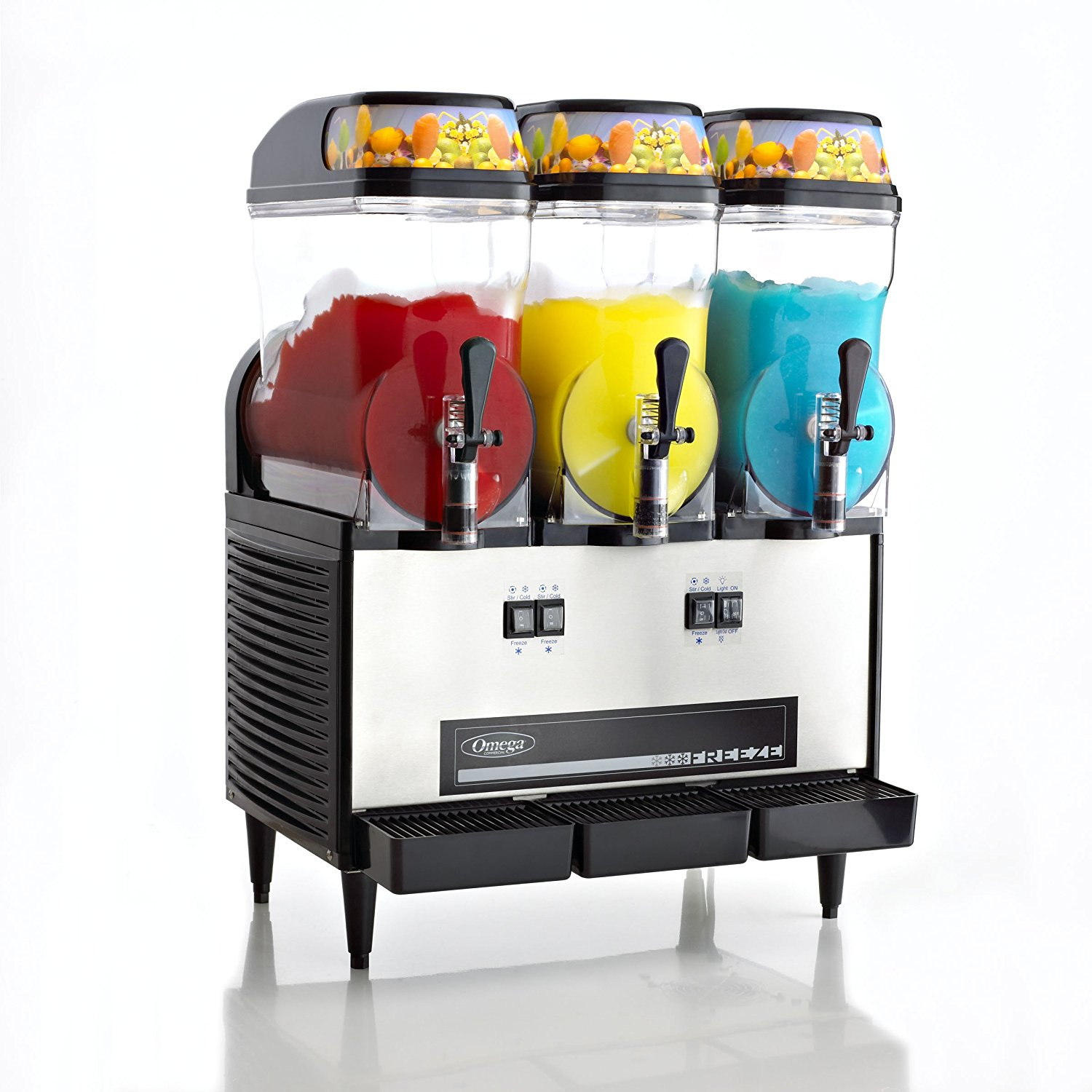 Omega OFS30 Commercial 1/2-Horsepower 980-Watt Granita Machine with 3 3-Gallon Bowls