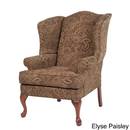 Greyson Living Elyse Wingback Paisley Print Accent Chairs Elyse Blue