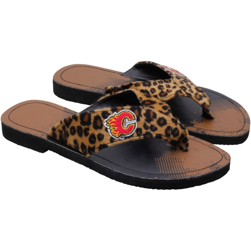 Calgary Flames Women's Cheetah Strap Flip Flops