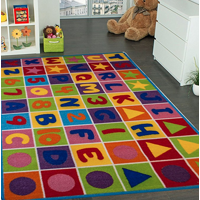 "Kids Rug Area Rugs Non Skid Gel Backing Number and Letters 8' x 10' approx (7'2"" ft X 10' ft)"