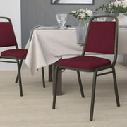Flash Furniture Trapezoidal Back Stacking Banquet Chair in Burgundy Fabric - Gold Vein Frame