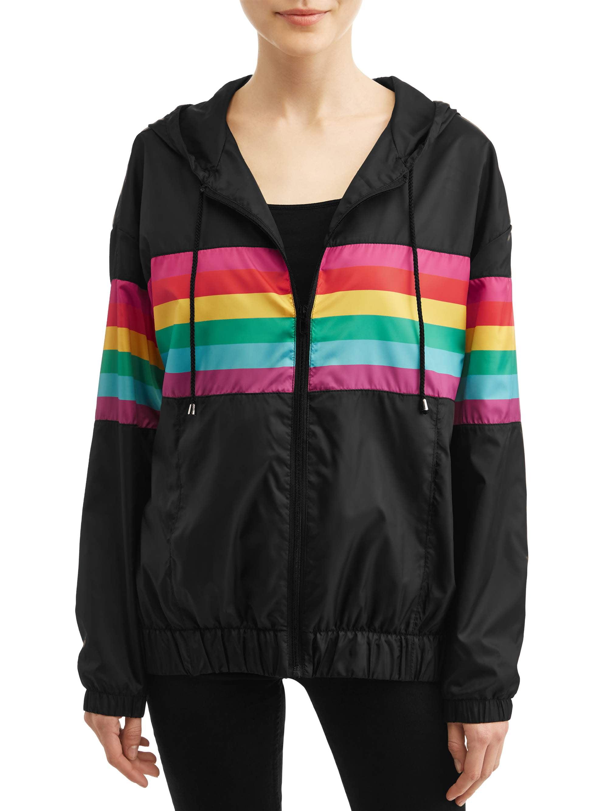 Rainbow Striped Hooded Windbreaker Jacket